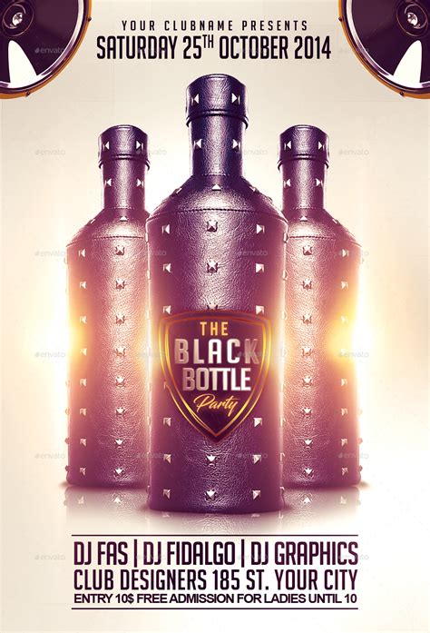 black bottle party flyer template  fas design graphicriver