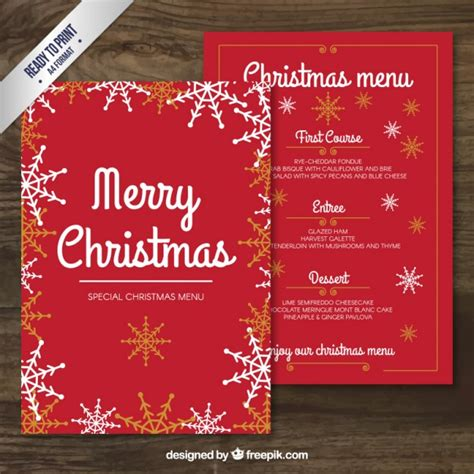 merry christmas menu template vector free download