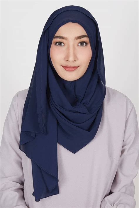 sell pasmina instan nihara navy hijab essential
