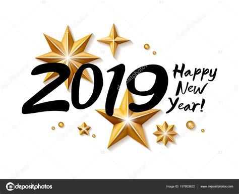 2019 Feliz Año Nuevo Fondo. Plantilla De Tarjeta De