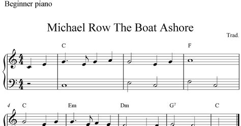 Row The Boat Ashore Piano by Free Easy Piano Sheet For Beginners Michael Row The