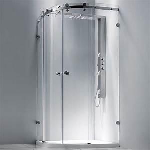 Douche complete parois receveur et colonne round 2 aquabains for Porte de douche coulissante avec radiateur infrarouge salle de bain avec minuterie