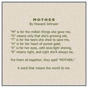 M-O-T-H-E-R by Howard Johnson | Mother's Day Poems | Gala ...