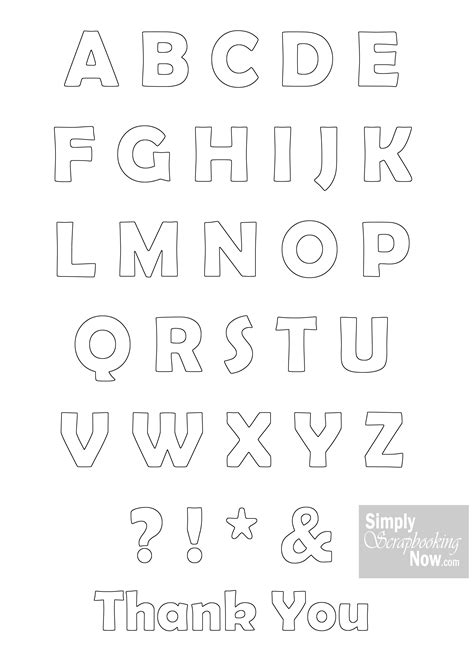 Alphabet Outline Simply Scrapbooking Now Free Alphabet And Word Outlines