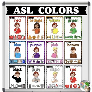 color sign language asl american sign language color posters by