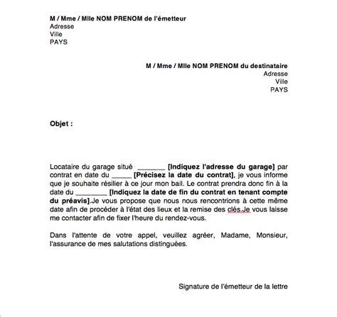 contrat de location parking modèle modele lettre resiliation bail garage par proprietaire