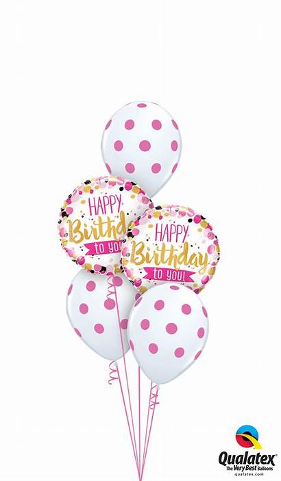 Happy Pink Gold Birthday Balloons Helium Bouquet