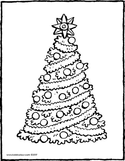 Kleurplaat Kerstboom Met Pakjes by Een Kerstboom Met Een Grote Ster Kiddicolour