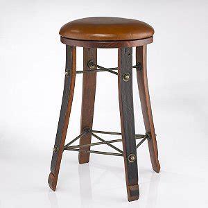 Vintage Oak Wine Barrel Round Bar Stool with Leather Seat