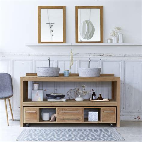 meuble salle de bain en teck brut meubles layang duo tikamoon