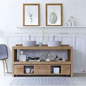 Salle De Bain Meuble : meuble salle de bain en teck brut meubles layang duo ~ Dailycaller-alerts.com Idées de Décoration