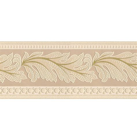 wallpaper borders shop style selections 5 in beige prepasted wallpaper border at lowes com