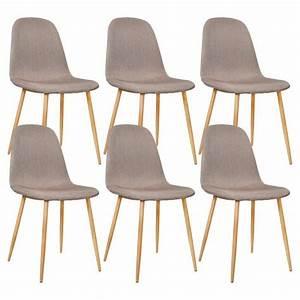 Chaise Design Metal : lot de 6 chaises design m tal scandinave taupe 45x55xh85cm achat vente chaise cdiscount ~ Teatrodelosmanantiales.com Idées de Décoration