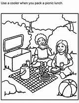Picnic Coloring Safe Bench Safety Blanket Template Picnics Foods Adults Perishable Activities Sketch Kid Cleaning Drawings Popular Backyard Colorir Adultos sketch template