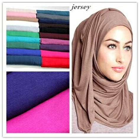colors cm fashion maxi scarves plain elastic jersey hijab solid color stretchy headwear