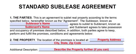 Free Sublease Agreement Templates