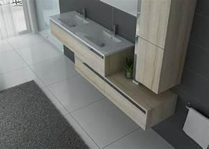 Meuble Double Vasque Suspendu : meuble double vasque bois scandinave meuble de salle de bain inox et bois bellissimo sc ~ Melissatoandfro.com Idées de Décoration