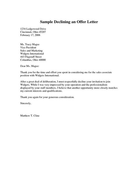 sle declining an offer letter pdf cover latter