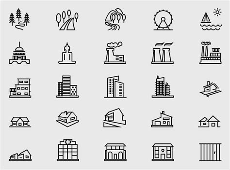pixel perfect building  landmark icons graphicloads
