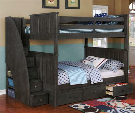 brandon full bunk bed  stairs dark gray kids furniture