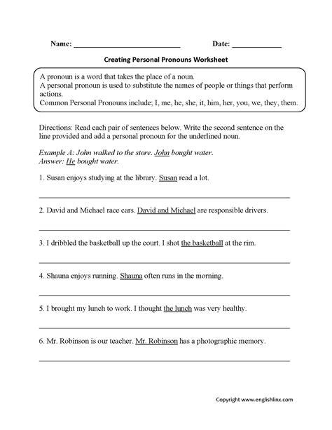 personal pronouns exercises pdf pronouns worksheets