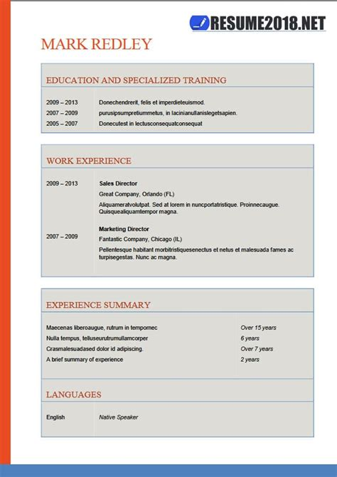 resume format      word templates