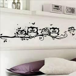 diy black owl cartoon wall stickers removable art vinyl decal kids nursery room home decor gs660