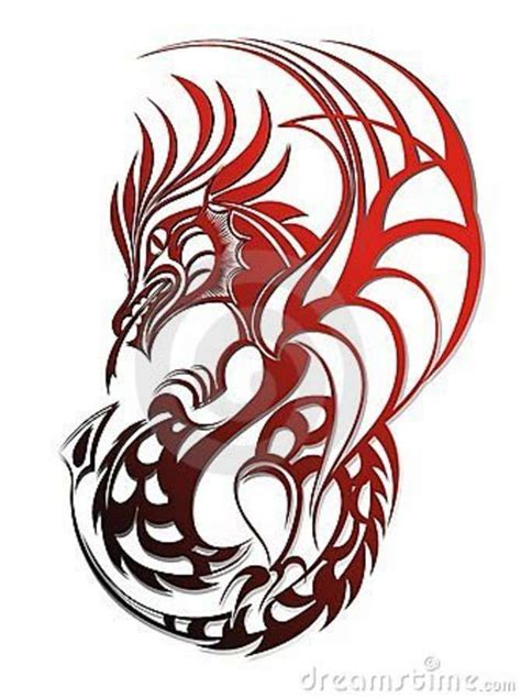 awesome red tribal dragon tattoo design dragons  red