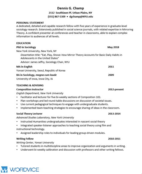 How To Do A Cv by Sle Graduate Cv For Academic And Research