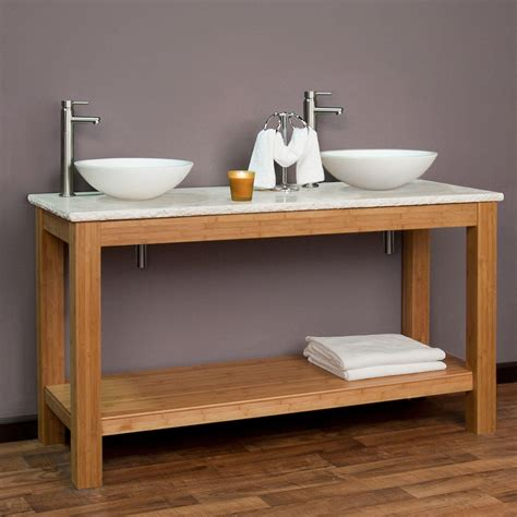 double trough sink bathroom vanity 60 quot michele bamboo double vessel sink console vanity