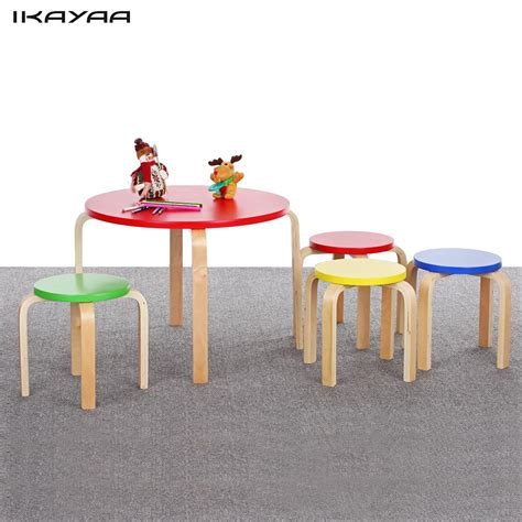 solid wood activity table ikayaa fr us de stock solid wood round kids table and 4