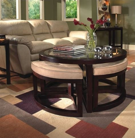 That's why we laid out the different ways a coffee table or an ottoman can be useful in our homes as well as coffee tables are ideal in homes where there is enough space for an additional piece of furniture. Round Coffee Table with Seats Underneath