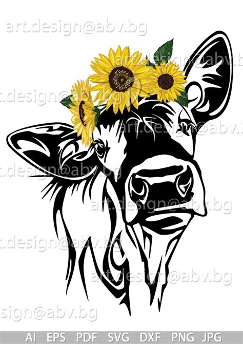 vector   sunflowers heifer calf head ai png