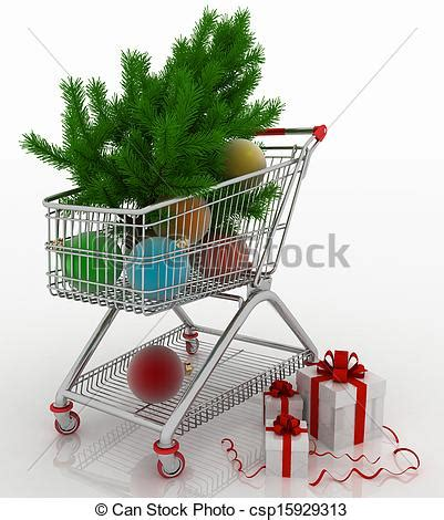 shopping cart christmas tree shopping cart with christmas balls with fir tree and 1406