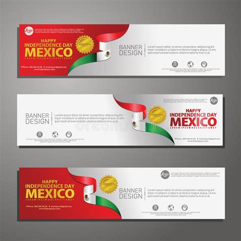 Happy Mexico Independence Day Banner And Background Set ...