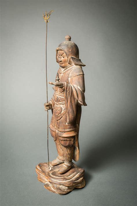 japanese hinoki wood sculpture  bishamon naga antiques