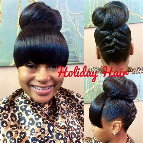 Black Hairstyles With Bangs And Buns by Updo With Bangs Curls Buns Braids Bobs Knots