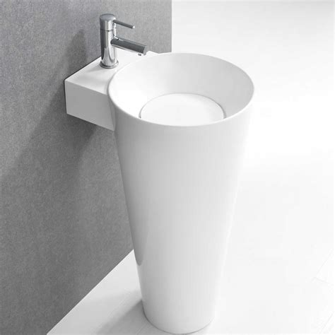 Modern Bathroom Pedestal Sinks by Buy Vetto Free Standing Solid Surface Resin Tone Modern