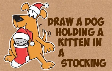 draw  cartoon dog holding  cute kawaii kitten