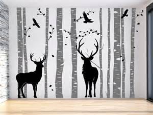 wandtattoo wald mit hirschen birkenwald wandtattoo de - Kinderzimmer Wald
