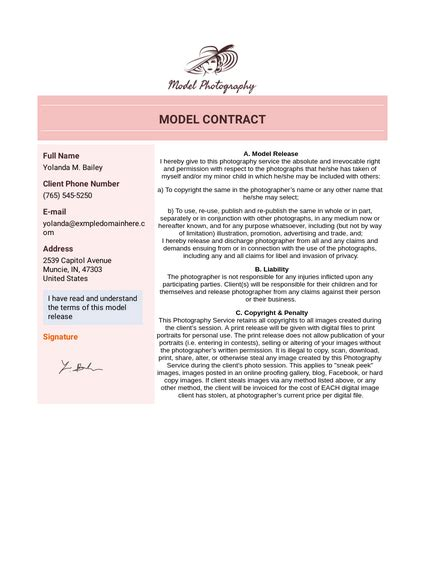 model contract template  templates jotform