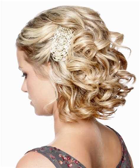 medium curly formal updo hairstyle caramel blonde hair color