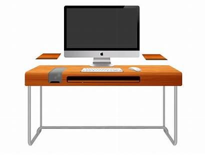 Desk Computer Clipart Office Workspace Orange Pc