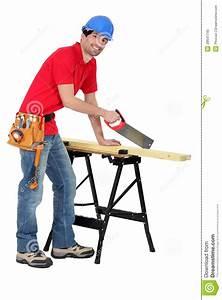 Carpenter sawing stock image Image of blade, background