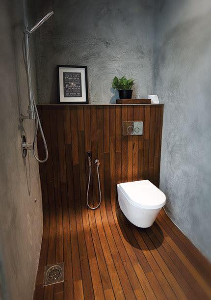 malaysian shower  wood flooring underfoot wood