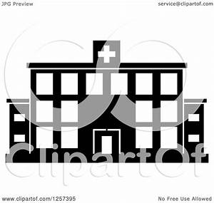 Clipart of a Black and White Hospital Building - Royalty ...