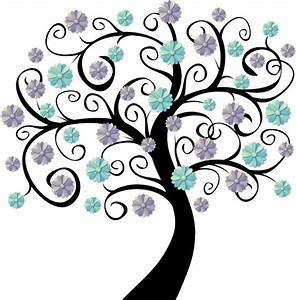 Stickers Arbre Noir : sticker arbre en fleurs bleues cologie ~ Teatrodelosmanantiales.com Idées de Décoration
