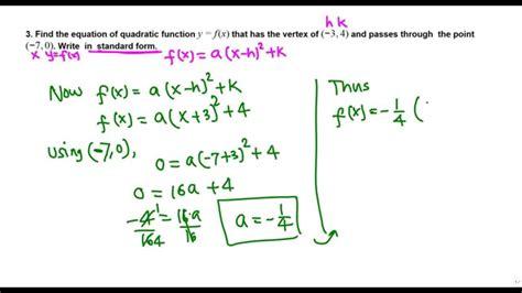 writing a quadratic function in standard form college algebra youtube