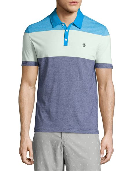 color block polo shirt lyst original penguin striped colorblock polo shirt in