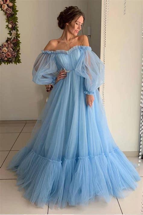 A Line Long Sleeve Off the Shoulder Long Prom Dress, Blue ...